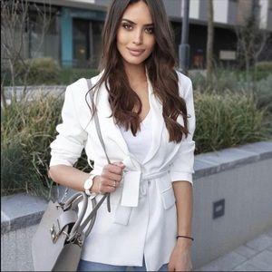 Zara white belted blazer